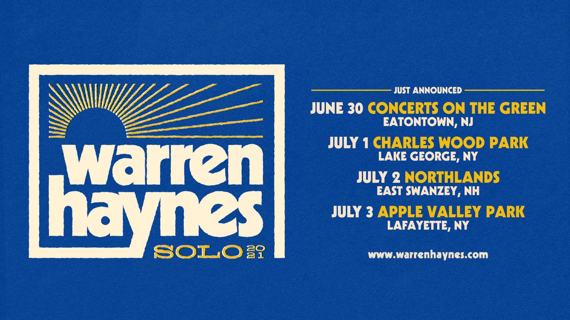 Just Announced - Warren Haynes Northeast Solo Tour